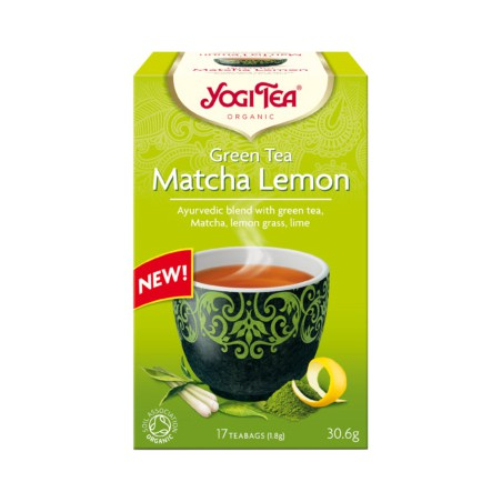 HERBATA ZIELONA Z CYTRYNĄ I MATCHĄ (GREEN TEA MATCHA LEMON) BIO (17 x 1,8 g) 30,6 g - YOGI TEA