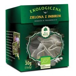 HERBATA ZIELONA Z IMBIREM PIRAMIDKI BIO (15 x 2 g) 30 g - DARY NATURY