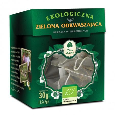 HERBATA ZIELONA ODKWASZAJĄCA PIRAMIDKI BIO (15 x 2 g) 30 g - DARY NATURY